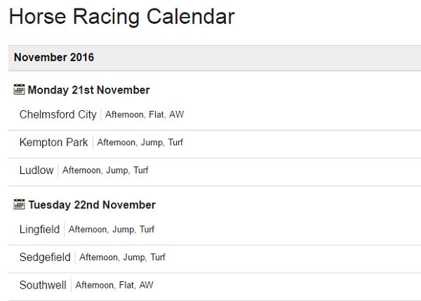 Horse Racing Calendar November