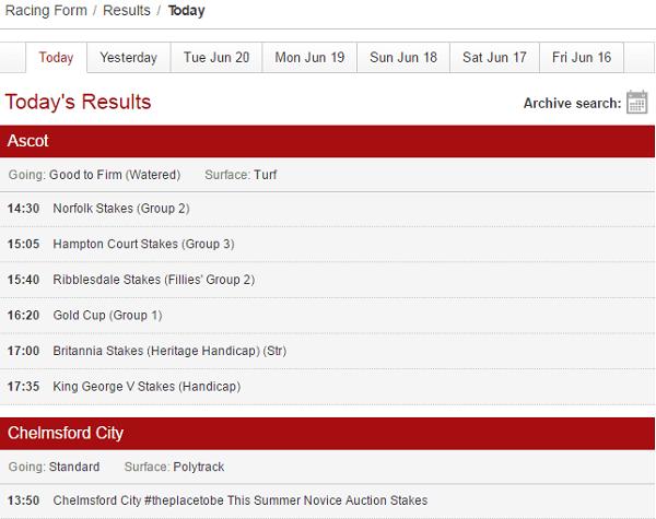 Ladbrokes Horse Results