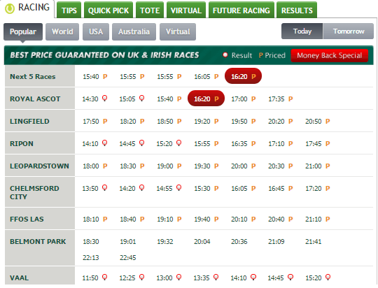 Paddy Power Horse Betting
