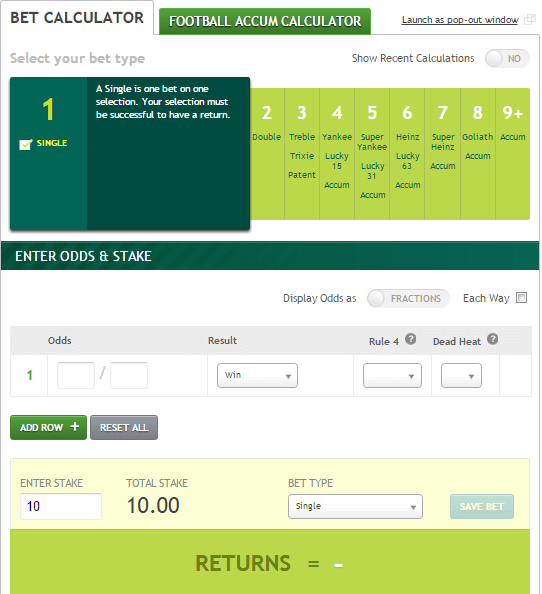 Paddy Power Horse Racing Calculator
