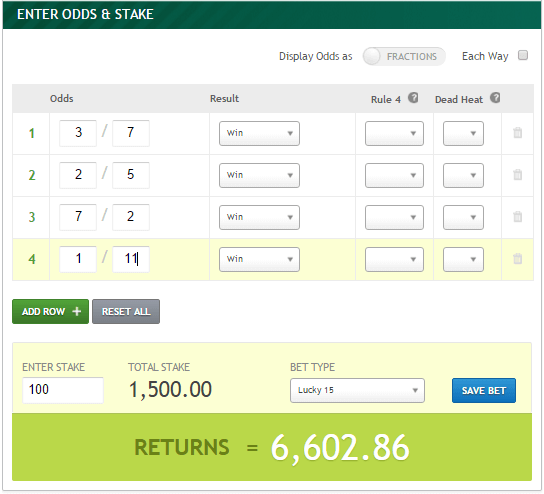 Betting odds calculator lucky 15 odds tvg betting online